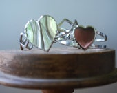 Vintage Mother/ Daughter Sweetheart  Bracelets - set of two - clamper/ cuff - silvertone - Retro 70's