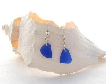 French Ear Wires With Cobalt  Beach Glass