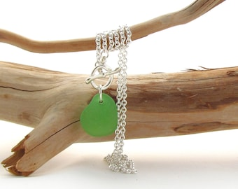 Sterling Silver Chain w/Toggle Clasp and Beach Glass Drop - Kelly