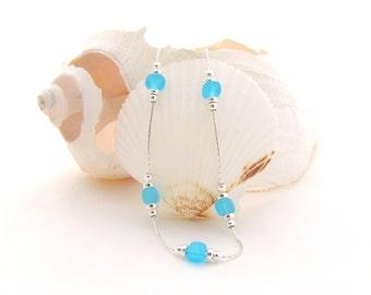 Sterling Silver Chain w/Aqua Matte Glass Beads