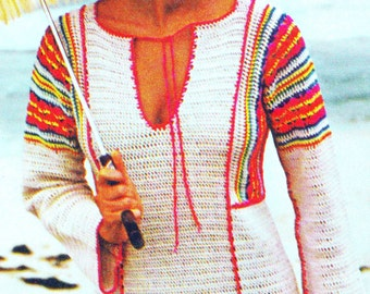 INSTANT DOWNLOAD PDF Vintage Crochet Pattern  Beach Kaftan Caftan  Cover Up Tunic  Maxi Dress