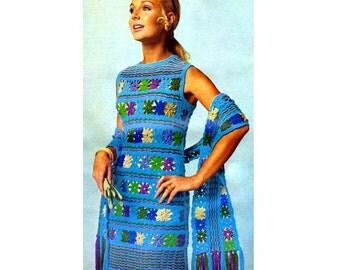 INSTANT DOWNLOAD PDF Vintage Crochet Pattern    1970s Granny Square Shift Dress  Retro Plus Free Pattern