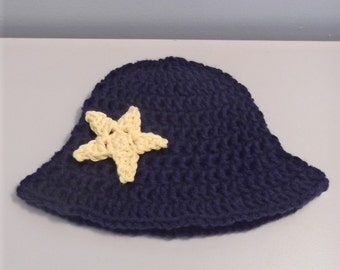 Baby Boy or Girl Crochet Sun Hat with Star Applique - 3-6 mo - ready to ship