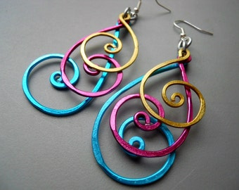 Hammered Peacock BOLD Long Swirly Spiral Feather Aluminum Earrings, Blue Gold Magenta Pink
