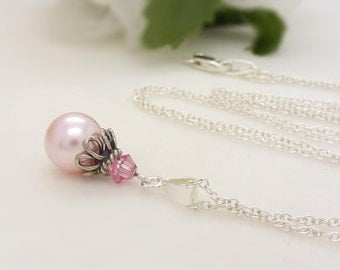 Pink bridesmaid jewelry, Light pink pearl necklace, Sterling silver pale pastel pink bridesmaid necklace