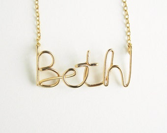 Personalized Gold Name Necklace. High Quality Custom Gold Name Necklace. 14k Gold Filled Name Necklace. Girl Gift Under 100. Free Shipping