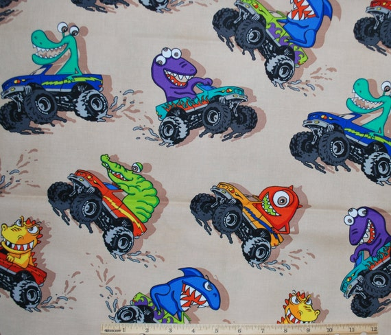 Destash quilting fabric monster trucks timeless by for Monster truck fabric