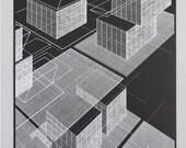 Grid objects 1, silkscreen print