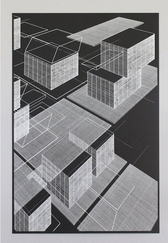 Grid objects 1, silkscreen print