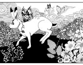 The hare tormented by pixies, original ink illustraton