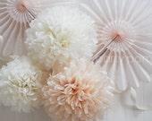 100 Tissue paper poms .. Wedding Reception Decoration .. Custom Colors