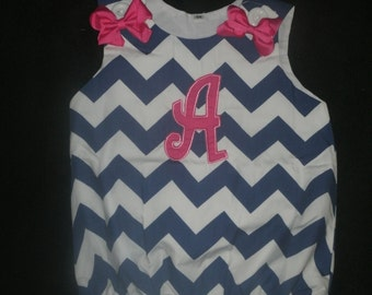 CLEARANCE  Chevron Bubble Romper With Single intial Applique Personalized