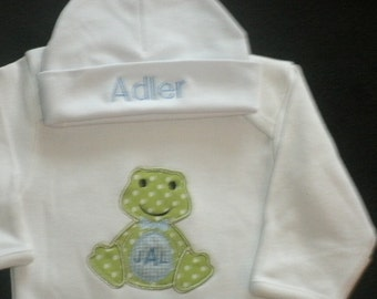 Personalized Frog Infant Gown and Cap Set Layette Baby Gift