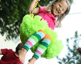 Green Pink Orange Striped Baby Leg Warmers