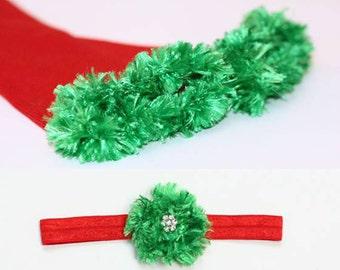 Red and Green Christmas Baby Leg Warmer and Headband Set