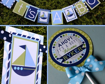Nautical Baby Shower Decorations Ahoy It's a Boy! Blue Green Fully Assembled