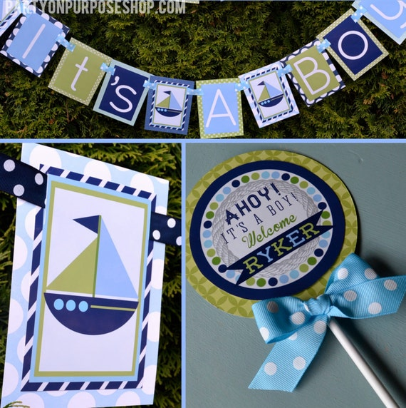 nautical baby shower decorations ahoy it 39 s a boy blue green fully