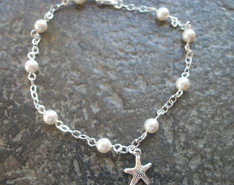 Dainty Pearl & Starfish Anklet Or Bracelet - Swarovski White Pearls - Beach Or Island Weddings - Bridal Party Gifts