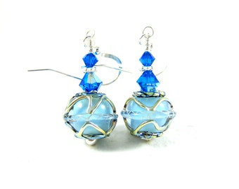 Blue & Silver Earrings, Baby Blue Glass Earrings, Lampwork Earrings, Beadwork Earrings, Ice Blue Dangle Earrings, Sky Blue Earrings - Drums