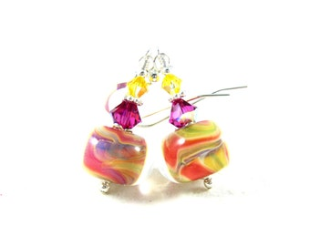 Pink & Yellow Earrings, Boro Lampwork Earrings, Glass Earrings, Orange Fuchsia Yellow Earrings, Colorful Beadwork Earrings - Carnival