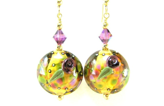 Fall Earrings, Lampwork Earrings, Purple & Gold Earrings, Floral Earrings, Glass Earrings, Purple Earrings Beaded Earrings  Wine Country