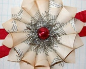 Small Paper Cone Wreath Holiday w/Vintage Red Mercury Glass Bead Ornament