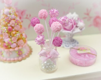 Pink Cake Pops - Handmade Miniature Food in 12th Scale