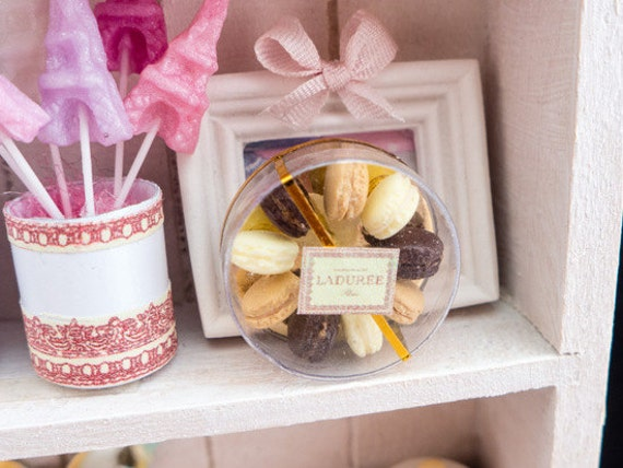 Box of Classic Parisian Macaroons - Chocolate, Vanilla and Coffee - Handmade Miniature Food in 12th Scale