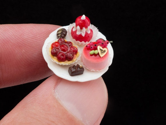 French Red Fruit Pastries and Chocolates on Stand - 12th Scale Miniature Food