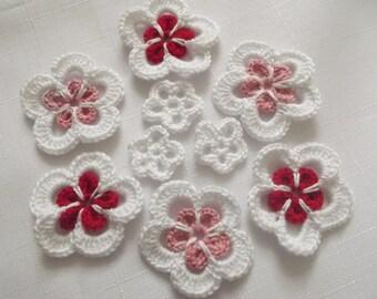 9 Pcs Cotton Crochet Applique Flowers...Pattern Applique...Crochet Applique...Embellishment