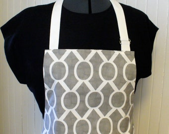 Mens or Womens Apron Full Apron Chefs Apron Adjustable Apron Gray White Modern Graphic Sydney Handmade MTO