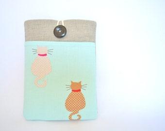 Gift for Her iPad Mini, iPad Mini Retina, Nexus 7 Case Sleeve, Galaxy Tab Cover - Waiting Cats in Aqua