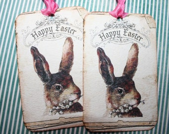 Easter Bunny Tags, set of 4 with silver German glass glitter