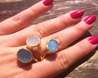 Druzy Ring, Blue, Gold Plated, Adjustable, One of a Kind
