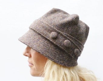 Harris Tweed Cloche Hat - Multi Autumnal Colour Herringbbone, Women's Hat, Fabric Hat, Wool Hat