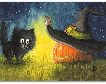 Black Cat - Halloween Jack o Lantern - Art Print by Bihrle ck298