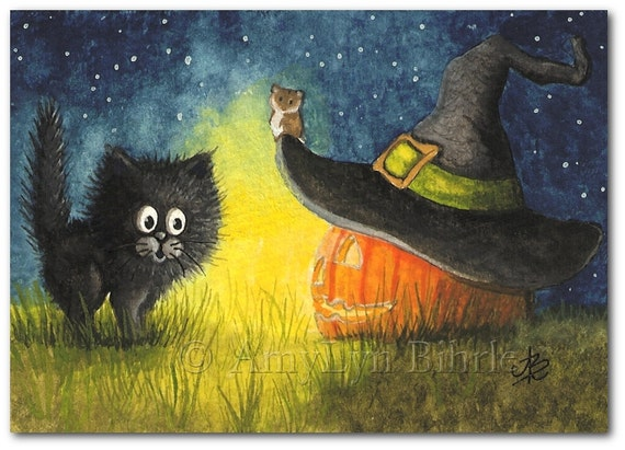 Black Cat Halloween Jack O Lantern Art Print By Bihrle