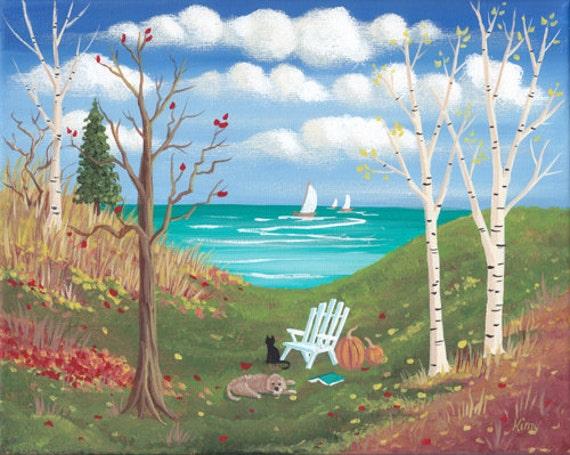 Fauteuil préféré automne paysage Folk Art Print