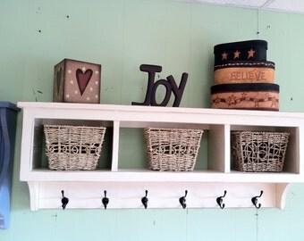 Cubby Wall Shelf Country Shelf for Baskets Bath Or Entryway W Hooks Wood Storage Wall Shelf Antiqued