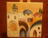 Miniature abstract oil painting of Jerusalem with Golden highlights