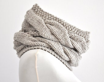 Knit Chunky Infinity Scarf Cowl Neckwarmer Beige Sand Neutral Gift for Her for Him Unisex Oversized Knits