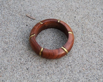 Wood and brass bangle bracelet.