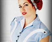 Betty Bandana in Red, White & Blue Retro Dot, 1930s-1940s Collection