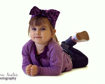 KIDS...Betty Bandana in Purple Leopard Animal Print