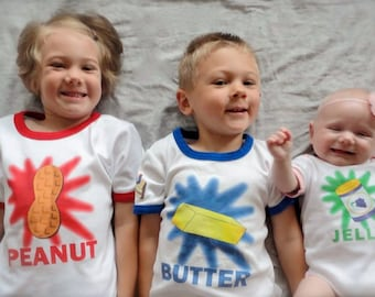 Big Brother Sister Little Brother Sister Baby Shirt. Set of 3. Sibling Shirt Set. Peanut Butter N Jelly Funny Sibling Shirts. New Baby Shirt