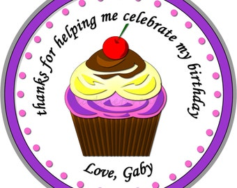 Cupcake Party Labels with Cherry on Top. Cupcake Birthday Party Sticker Seals. Cupcake Thank you Seals. Custom Stickers For Birthday Party
