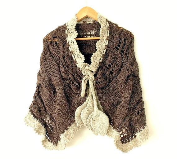 Knit shawl. Knit scarf. Knit stole. Knit capelet. Alpaca wool blend. Autumn fashion. Winter shawl.