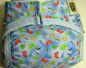 Diaper cover PUL lined Seagulls and crabs printed on powder new born small size