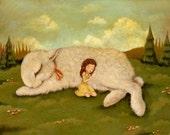Art for Kids - The Snuggle Bunny Print 14x11 - Nursery Art, Kids Wall Art, Children's Art, Baby Art, Animal, Bunny, Rabbit, Girl, Baby, Cute