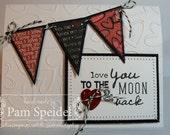 Handmade Stamped Stitched Happy Valentine's Day Banner Card